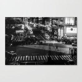 Shibuyacrossing at night - monochrome Canvas Print