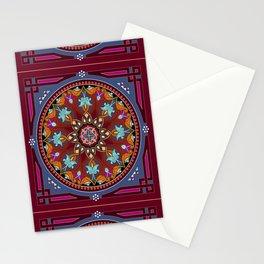 Boho Floral Crest Plum Stationery Cards