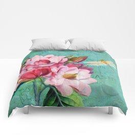 Verdigris Pink Magnolias Comforters