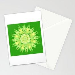 Curly Mandala in fresh lemon&green Stationery Cards