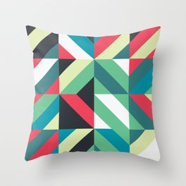Colorful Shapes Texture, Retro Style, Throw Pillow