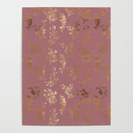 Mauve pink faux gold wildflowers illustration Poster