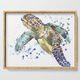 Abstract Watercolor Sea Turtle on White 2 Minimalist Coastal Art - Coast - Sea - Beach - Shore Serving Tray