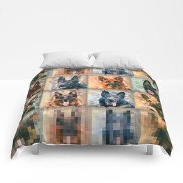 German Shepherd Dogs - GSD - Digital Art Collage Comforters