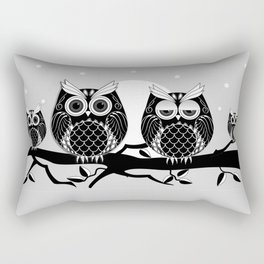 Graphic vector owl on branch in B&W Rectangular Pillow