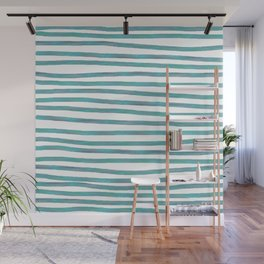 Ocean Green Hand-painted Stripes Wall Mural