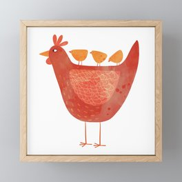 Hen and Chicks Framed Mini Art Print