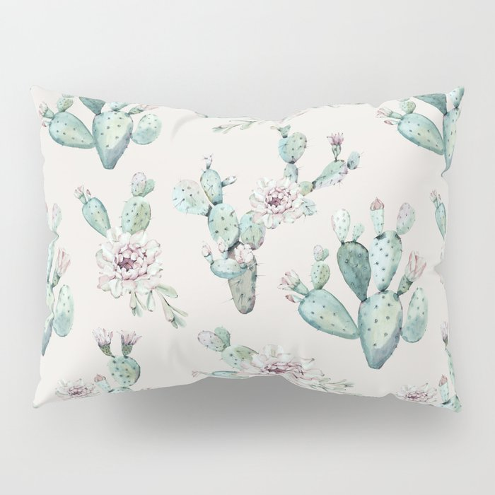 Pretty Cactus Rose Pattern Pale Pink + Green Pillow Sham