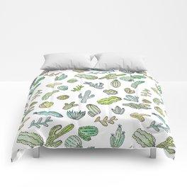 Cute Green Watercolor Paint Summer Cactus Pattern Comforters
