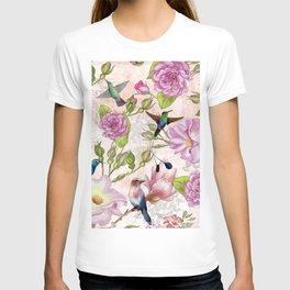 Vintage Roses and Hummingbird Pattern T-shirt