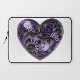 Purple Grey Love Heart Paper Quilled Colorful Heart Wedding Anniversary Gift Laptop Sleeve