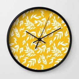 Flowers on honey yellow Wall Clock
