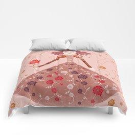 PINK QUEEN WITH FLOWERS Comforters