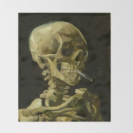 Skull of a Skeleton with Burning Cigarette Painting by Vincent van Gogh Throw Blanket