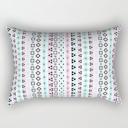 Aztec Influence Pattern III Blue Black Pink White Rectangular Pillow