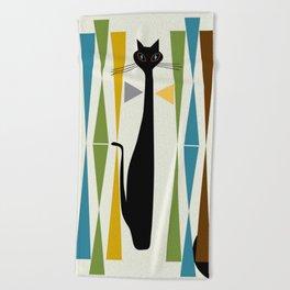 Mid-Century Modern Art Cat 2 Beach Towel