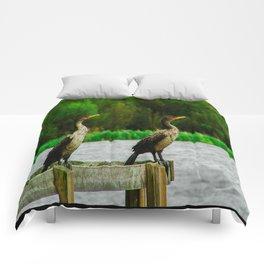 Cormorants Enjoying their View Comforters