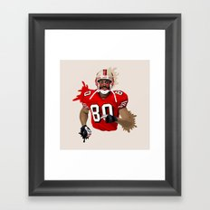 Jerry Rice Illustration Framed Art Print