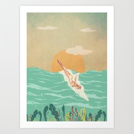 Girl Dive Vintage Art Print