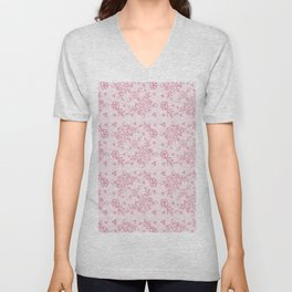 Elegant stylish dusty pink white floral lace Unisex V-Neck