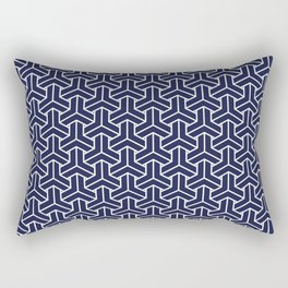 Japanese Yukata Jinbei Bishamon Navy pattern Rectangular Pillow