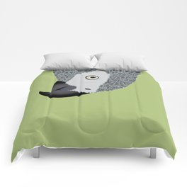 African Grey Parrot [ON MOSS GREEN] Comforters