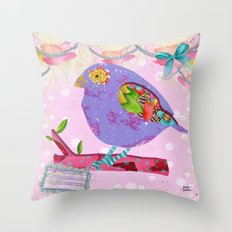Pink And Purple Passion Bird Throw Pillow