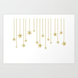 Golden hanging stars Art Print