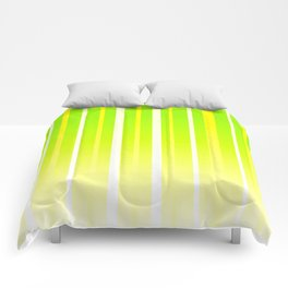 Dissolving Stripes Pattern in Bright Spring Green and Yellow Comforters