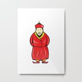 Chinese Asian Man Wearing Robe Cartoon Metal Print