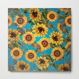 Vintage & Shabby Chic - Sunflowers on Turqoise Metal Print