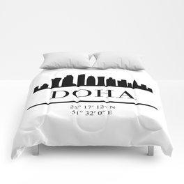 DOHA QATAR BLACK SILHOUETTE SKYLINE ART Comforters