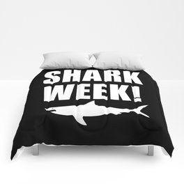 Shark Week, white text on black Comforters