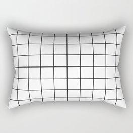 Grid Pattern Stripes Lines Black and White Minimalist Geometric Stripe Line Rechteckiges Kissen