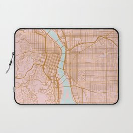 Pink and gold Portland map, Oregon Laptop Sleeve