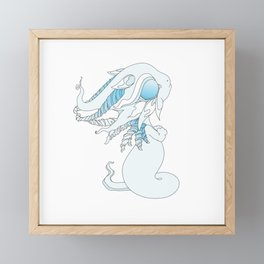 Winter Ghost Dragon Baby Framed Mini Art Print