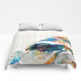 Colorful Horse Art - A Gentle Sol - Sharon Cummings Comforters