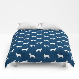 Australian Cattle Dog silhouette pattern portrait dog pattern navy and white Comforters