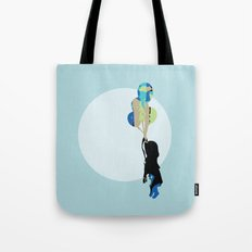 Little Girl With Balloons Tote Bag