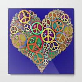 Retro Peace & Love Heart Metal Print