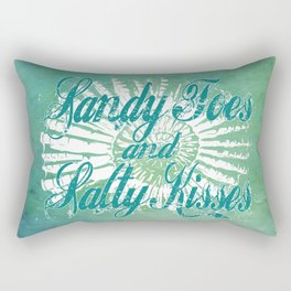 Sandy Toes and Salty Kisses with Nautilus Shell Graphic Design Rectangular Pillow