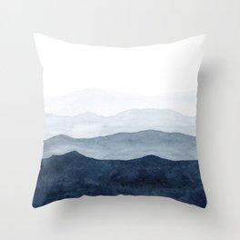 Indigo Abstract Watercolor Mountains Deko-Kissen