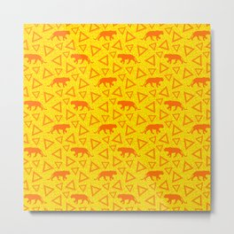 Wild African walking orange lions and abstract triangle shapes. Stylish whimsical ethnic bright sunny yellow retro vintage geometric animal nature pattern. Metal Print
