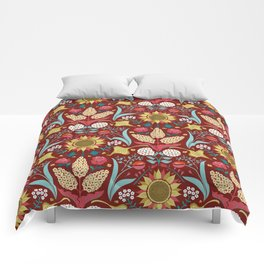 Florid Dreams Red Comforters