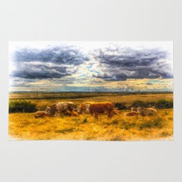 Cows At Rest Art Rug