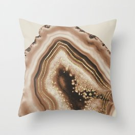Soft Brown Agate Gold Foil Glam #1 #gem #decor #art #society6 Throw Pillow