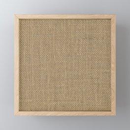 Natural Woven Beige Burlap Sack Cloth Framed Mini Art Print