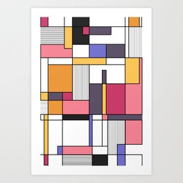Abstract colored shapes and forms Art Print