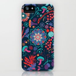 Ripe autumn – cyan and red iPhone Case