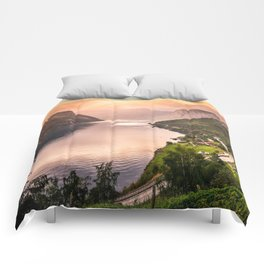 Fjord at sunset Comforters
